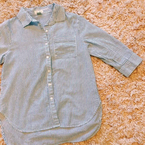 Love Notes Tops - Love Notes Blue & White Cotton Button Up Shirt